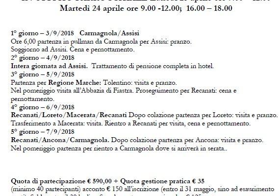 Assisi e Marche 3-7 Settembre 2018