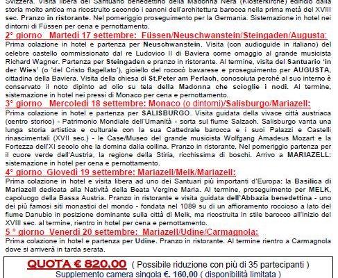 Gita I SANTUARI DEL CENTRO EUROPA 16-20/09/2019
