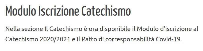 Modulo Iscrizione Catechismo